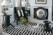 Black & White Interiors / I'm currently crushing on all black and white rooms.  Sometimes there's a small pop of color or the use of a metallic.  Loving it!