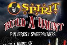 "Build A Haunt Pinterest Sweepstakes / Create a ""Build A Haunt"" board and pin Spirit Halloween products and other frightening finds! Five lucky winners will receive a Spirit Prize Pack worth $200 and a Grand Prize winner will receive a $500 Prize Pack! / by Spirit Halloween"