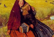 C: PRB: Realism. Hunt (1827-1910), Millais (1829-1896), Ford Maddox Brown (1821-1893) / The 7 original Pre-Raphaelites (1848) were English artists attempting to return to the Medieval values that existed prior to Raphael.  They concentrated on Spiritual (Medieval), and Realism values, including nature and history.  The first meeting took place at Millais parent's house, with Millais, S, and Hunt.  They eventually included poets, sculptors and craft artists in their group. Eventually, they followed one of two paths, Romanticism (Rosetti), and Realism (Hunt) / by Nancy Carter