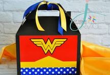 Superhero Party Ideas / Superhero party favor boxes for a Wonder Woman birthday party, Batman party, Spiderman party, Robin and The Flash birthday party. https://www.etsy.com/shop/Jatyourservice