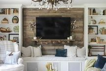 DECORATE - FAMILY ROOM / Decor and inspiration for establishing a great room or family room. Paint, coffee table, side table, couches, tables, hutch, console, mantels, fireplaces.