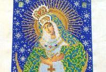 Богородица Остробрамская / Икона вышита бисером мною в ноябре 2015 года