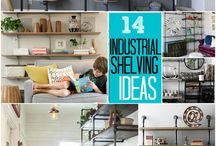 SHELVING / Decorating and storage using shelving. Wood, metal, industrial, finished, rustic, farmhouse, modern.