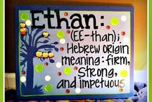 """Ethan Caleb Pettway / -Hebrew for """"strong,"""" """"safe,"""" """"firm."""" In the Bible, Ethan is a wise man (but not as wise as Solomon).   -From the word """"dog"""" in Hebrew, a symbol of devotion to God. In the Bible, Caleb leaves Egypt with Moses and is one of only two followers to make it to the promised land.  / by Shayla Finklea-Pettway"""
