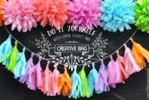 pom poms, tassels and bunting / tutorials and inspiration for decorating with tissue paper pom poms, tassels and bunting