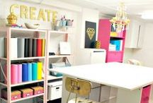 Office Redesign / Shared space with an office for two and a craft room