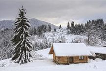 C A B I N S * in * W I N T E R / Love to spend winter in the mountains...