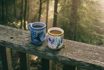 C O F F E E * at the * C A B I N / Sitting at the porch or a bench near the cabin and drinking morning coffee is just ... a dream...