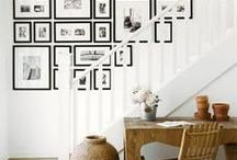 Wall Art Groupings / Kristie Barnett, The Decorologist, shares picture and art groupings hung on a wall. For more home decoration tips, check out TheDecorologist.com