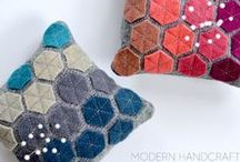 Hexagons Here / We're really infatuated with these 6-sided polygons - they're the shape of the moment! Lots of DIY inspirations here for quilting, accessories, home and more. Maybe it's love ...