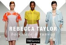 Rebecca Taylor Spring 2015 / TRESemmé created Undone Ponytail Buns to complement Rebecca Taylor's bright, graphic spring/summer 2015 line inspired by a Midsummer Night's Dream with a 70's twist.