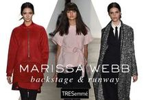 Marissa Webb Fall 2015 / TRES lead stylist, Jeanie Syfu, created texturized down-do's and center-parted, low, braided buns to complement Marissa Webb's utilitarian and structured, yet feminine line.