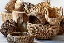 Baskets. / Baskets (pl. n.) . [bas-kit s] . Containers made of twigs, thin strips of wood, or other flexible material woven together. / by Christine ♥