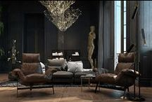 Interiors ❉ Dark & Dramatic / Dark interiors envelop you in glamour, mystery, elegance / by Jackie Jordan