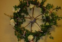 (SEASONS) Beltaine / May Day / Beltaine or May Day (traditionally the 1st of May), is the great celebration of sexuality.The sacred marriage of the red man (Robin,Fauna) & Green Maid (Marion,Flora,Blodeuwedd,Maia) is celebrated in the Maypole Rite.Floral wreaths are worn & may baskets left on door steps for loved ones.It is traditional to wear green, the colour of the faeries.The night before (May eve) is called Walpurgis nacht & is celebrated with a bonfire to signify the begetting of spring by wodan & Freya. / by Amber Bradley-carter