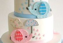 Baby Shower Treat Ideas / Cakes, cupcakes, cake pops, cookies, baby, boy, girl, twins, animals, bottle, cute, rattle, button