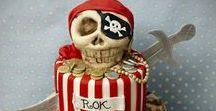 Pirates Cake Ideas / Cake, cupcake, cake pops, cookies, ship, skull & cross bones, sea, sails, eye patch, pirate, parrot, treasure, gold, sword, map, hook