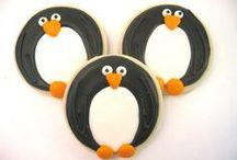 Penguin Cookies & Treats / Snow, ice, cute, biscuit, Christmas, cookie