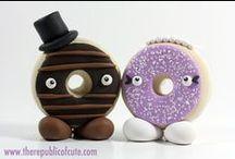 Doughnuts / Donut, icing, sprinkles, chocolate, ring, wedding, birthday, tower, game, holly wreath, rainbow