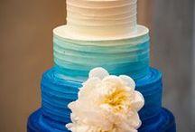 Blue Wedding Cake Ideas / Wedding, ruffles, silhouette, flowers, ombre, handpainted
