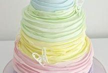 Pastel Wedding Cakes / Cake, cupcake, lace, pastel pink, pastel blue, ombre, wedding, celebration, pearls