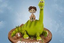 Dinosaur Cake Ideas / Prehistoric, monster, t-rex, fossil, cake, cupcake, cake pop, bones, Jurassic Park, velociraptor