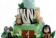 Safari Treat Ideas / Lion, tiger, zebra, monkey, giraffe, snake, elephant, alligator, crocodile, trees, hippo, cupcakes, cakes, cake pops