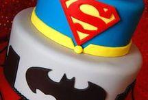 Batman & Superman / Batman, Superman, skyline, city, Superman logo, Batman logo, cake, cake pops, cupcakes, cookies, POW, superhero
