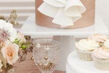 Rose Gold Wedding Cakes / Rose Gold, Wedding, Cakes, Metallic, Sequins, Pink