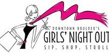 Girls Night Out / Girls' Night Out is an event put on by Downtown Boulder, and will be a night of sipping, shopping and strolling! Over 30 local retailers will be hosting in-store special events and deals. All pins represent a store that will be participating. Come to Downtown Boulder on September 28th, from 5pm to 8pm. Visit GirlsNightDowntown.com for more details.
