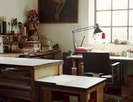 Artist Studio Space / Artist Studio Space Ideas, Studio Apartment Living Ideas. Workspaces for Creative People.  Desks, Window, Shelves, Natural Light, Floors, Ceilings, Storage Ideas, Loft,