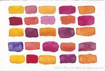 Color Schemes & Paint Mixes / Color palettes and watercolor blends for painting