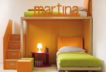 Home Decor: Cute Loft beds for Girls / loft bed, indoor playhouse, orange, fuchsia, purple decor palette
