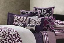 House & Home - Bedroom / Our bedroom colors are purple, blue, and white.