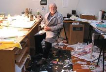 In the Studio / Artists at work. Fab studio spaces. Cool ideas for studio tools and organization.