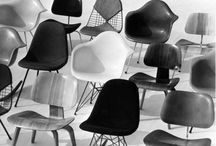 AphroChic: Eames / Molded Eames plastic chairs in bright colorways.