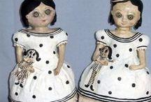 My dolls / FOLK art one of a kind doll, folk art papier mache doll Joanna Bolton art dolls