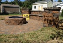Fire pit with wall of seats... Hanover, Pa - Ryan's Landscaping / Fire pit with wall of seats... Hanover, Pa - Ryan's Landscaping Rounded Paver patio, Retaining Wall, Firepit & Walkway Installation.