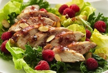 """Raspberry Chicken Salad  / """"This pretty summer salad is a snap to make, but it looks as though you fussed,"""" writes Sue Zimonick of Green Bay, Wisconsin. The slightly tart dressing also serves as a basting sauce, which gives the thin slices of tender chicken breast a nice fruit flavor. Visit http://bestlifeblueprint.bizblueprint.com/healthy-recipies/raspberry-chicken-salad"""