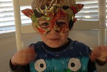 #epicmasknobull / our upcycled spouch boxes that have been lovingly turned into fierce masks by our li'l crafty peeps