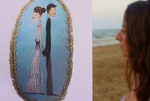 Tarjetones de boda ilustrados