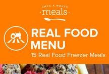 Real Food Freezer Menu February 2016 / Exotic lemongrass coconut chicken, protein rich mini banana muffins, and savory stuffed sweet potatoes show real food at its best in this wintertime Real Food menu. Carrots, spinach and kale also flaunt their seasonal versatility in everything from smoothies to soups. / by Once A Month Meals