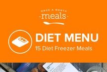 Diet Freezer Meals Menu April 2016 / Spring is in full swing with this light and lively Diet Menu. From the tart pop of rhubarb in the Low-Fat Rhubarb Muffins to the sweetness of peas nestled in the folds of parmesan linguine, these freezer meals capture a taste of the season to enjoy anytime! / by Once A Month Meals