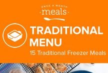 Traditional Freezer Meals Menu April 2016 / Leave behind meal time stress and stock up your freezer! With hashbrown wraps boasting all the best bits of breakfast, buttery biscuit pockets filled with robust beef chili, and homey cheese laden lasagna casserole tucked away, you can enjoy a no fuss hot meal anytime. / by Once A Month Meals
