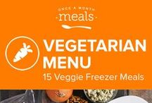 Vegetarian Freezer Meals Menu April 2016 / Carrot walnut pancakes spread with cinnamon maple cream cheese, chunks of tempeh bathed in a rich and fragrant masala sauce, and tiny nests of turmeric seasoned whole wheat spaghetti topped with melty cheddar are just a few of the meals highlighting this spring Vegetarian Menu. / by Once A Month Meals