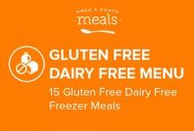 Gluten Free Dairy Free Freezer Meals Menu April 2016 / Succulent spice rubbed shoulder roast coupled with tender sweet potatoes and onions, herbaceous apple and spinach fortified nuggets of ground chicken, and a simple sweet apple-banana oat smoothie highlight this offering of gluten and dairy free meals to fill your freezer. / by Once A Month Meals