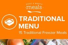 Traditional Freezer Meals Menu May 2016 / Decadent Orange Ricotta Chocolate Chip Muffins, zesty lime marinated Quick and Easy Freezable Chicken Tacos, and crispy cabbage filled Baked Egg Rolls highlight the tasty offerings from this Traditional Menu to stock up your freezer. / by Once A Month Meals