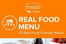 Real Food Freezer Meals Menu May 2016 / Let the vibrance of spring bloom in your kitchen with this selection of Real Food meals. Fill your freezer with cinnamon and vanilla scented french toast, cilantro lime chicken crowned with strawberry salsa, and a buttery asparagus and swiss frittata. / by Once A Month Meals