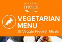 Vegetarian Freezer Meals Menu May 2016 / Enjoy produce at its peak with a freezer full of homemade meals. Cakey berry laden baked donuts, caramelized onion and smoked gouda topped flatbread, and lemony navy beans paired with spring vegetables compose a few of the flavorful landscapes from this warm weather menu. / by Once A Month Meals