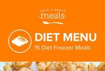 Diet Freezer Meals Menu May 2016 / Pesto dressed chicken in a toasty wrap, sweet and spicy raspberry jalapeño glazed chicken, and simply refreshing strawberry peach smoothies are a few of the healthful, low calorie options from our Diet Menu offering a springtime twist for your meal routine. / by Once A Month Meals